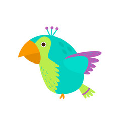 Flying colorful parrot in wild green amazon forest vector