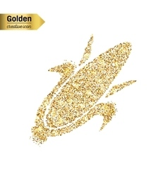 Gold glitter icon of corn on the cob vector