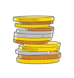 Golden silver and bronze coins stacks vector image