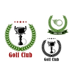 Golf club heraldic emblems and icons vector image