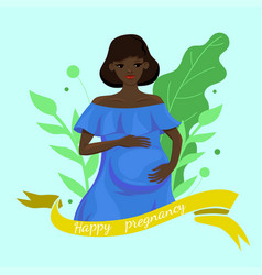 greeting card with a pregnant black woman vector image