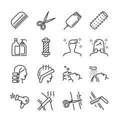 hair salon icon set vector image