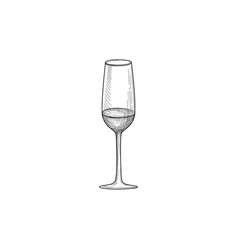 Half full wine glass wineglass engrave drink sign vector