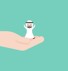 Happy cute arab business man in god hand business vector