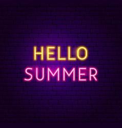 hello summer text neon label vector image