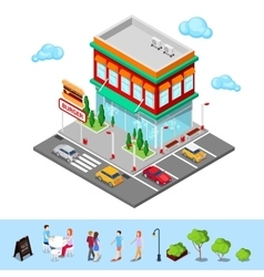 Isometric City Restaurant Fast Food Cafe vector