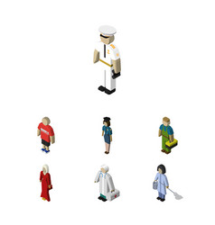 Isometric person set of policewoman plumber vector