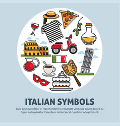 Italy travel symbols and landmarks poster vector