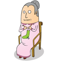 knitting grandma vector image