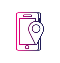 Line smartphone technology with location map vector
