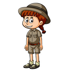 Little girl in safari outfit vector