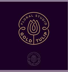Logo gold tulip flower studio emblem vector