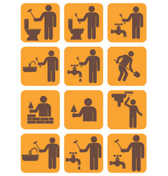 mason worker icons set vector image
