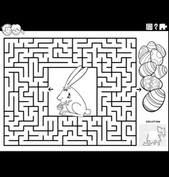 maze game with easter bunny and eggs coloring vector image