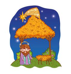 nativity christmas cartoon vector image