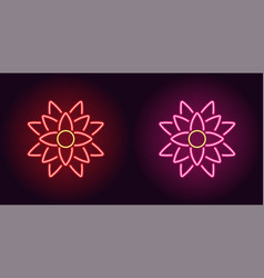 neon lotus with backlight in red and pink color vector image
