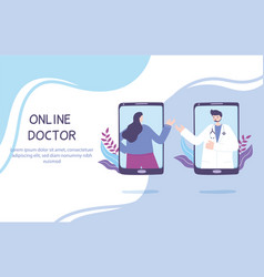 Online doctor patient consultation to physician vector