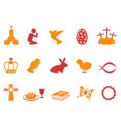 Orange and red color easter day icons set vector