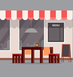 outdoor table and menu cafe or cafeteria exterior vector image