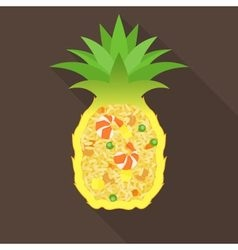 Pineapple fried rice vector