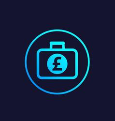 portfolio icon with pound symbol vector image