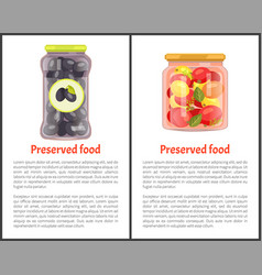 Preserved vegetables posters with canned food vector