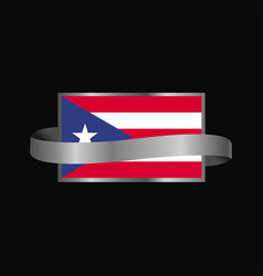 puerto rico flag ribbon banner design vector image