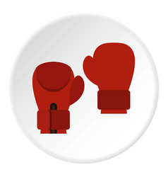 Red boxing gloves icon circle vector