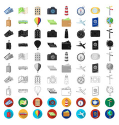 Rest and travel cartoon icons in set collection vector