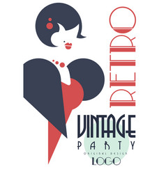 retro vintage party logo design element with with vector image