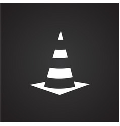 Road cone on black background vector
