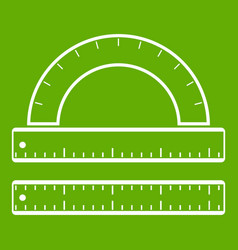 ruler and protractor icon green vector image