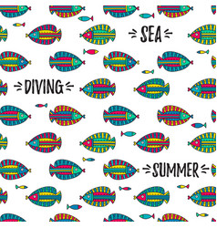seamless pattern with doodle fishes vector image