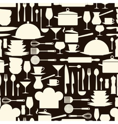 Seamless pattern with restaurant and kitchen vector