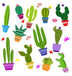 set cute cactus vector image
