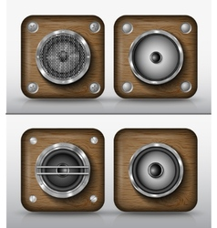 Set icons applications wood vector
