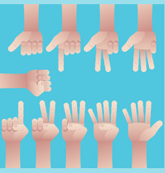 set of hands counting zero to nine vector image