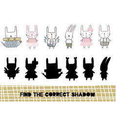shadow matching game for children find the vector image