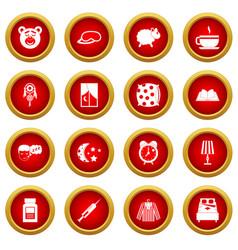 Sleep icon red circle set vector
