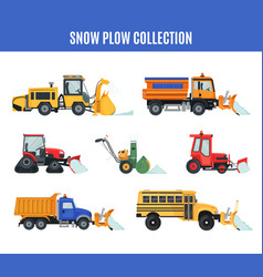 Snow plow collection in flat style on white vector