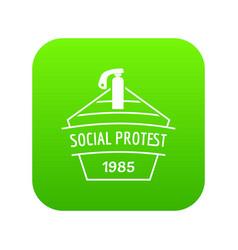 Social protest riot icon green vector
