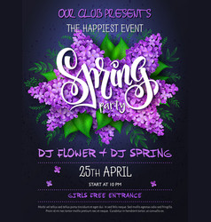 Spring party poster with lettering lilac vector