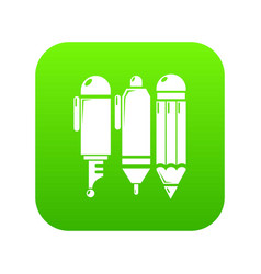 stationery icon green vector image