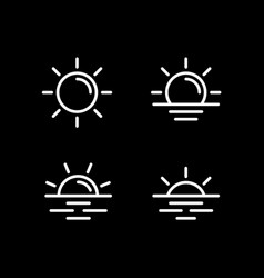 sun icons collection line st vector image