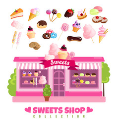 Sweets shop collection vector