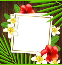 tropical frame with flowers vector image