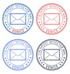 Venice italy round postmarks for envelope vector