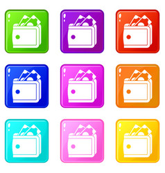 Wallet with cash icons 9 set vector