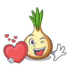 with heart cartoon ripe yellow onion for cooking vector image