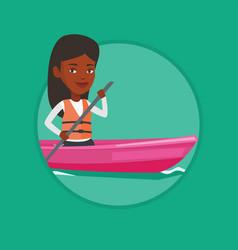 Woman riding in kayak vector